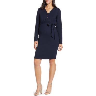 Angel Maternity Long Sleeve Maternity Sweater Dress, Blue