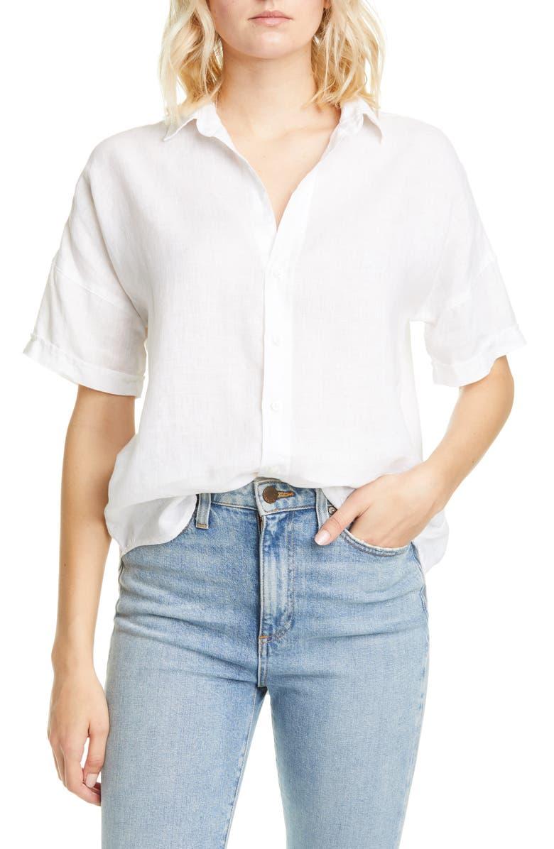FRANK & EILEEN Rose Short Sleeve Linen Button-Up Shirt, Main, color, WHITE LINEN