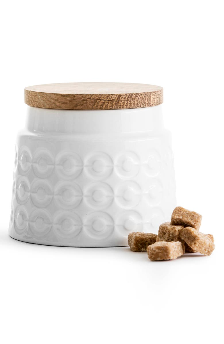 SAGAFORM Small Oak Storage Jar, Main, color, WHITE