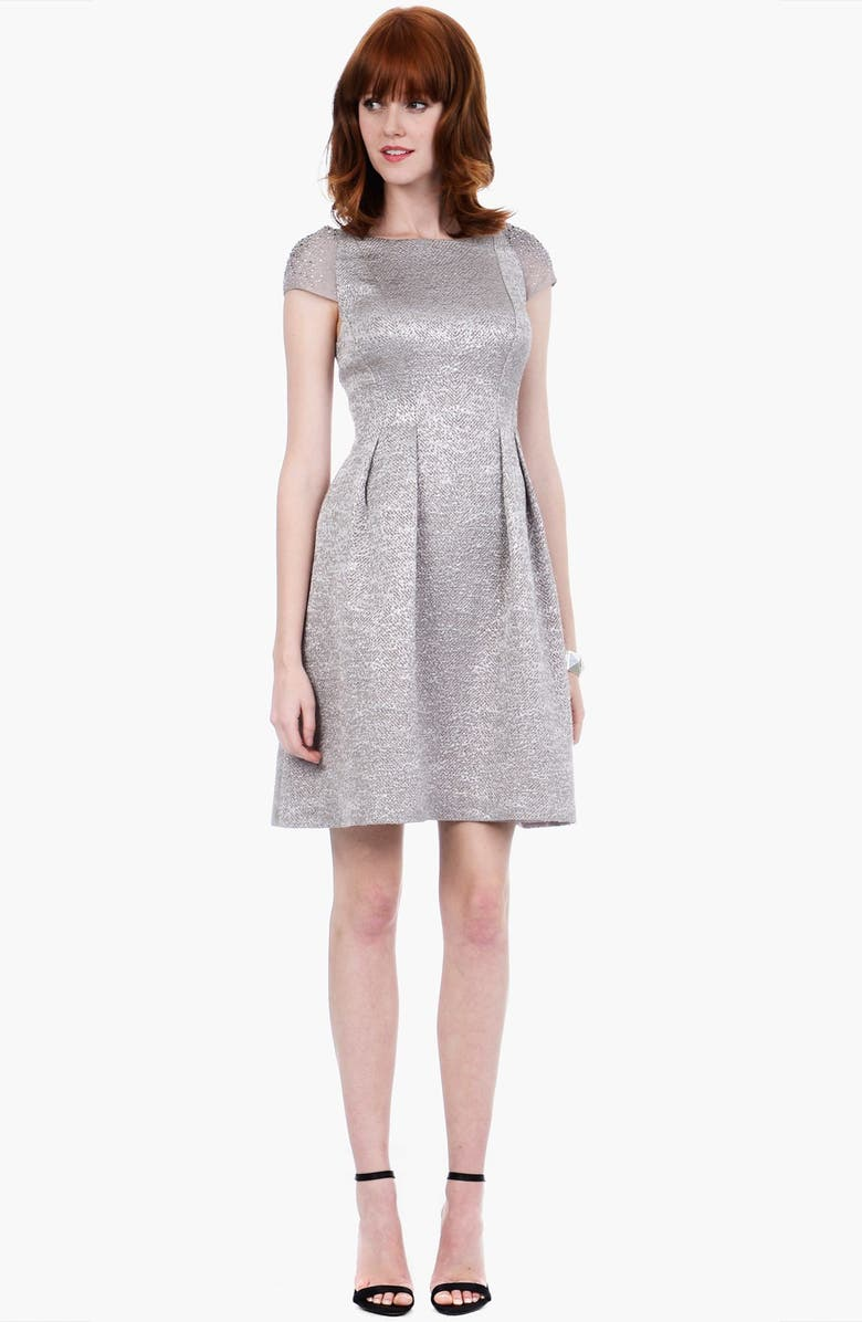 KAY UNGER Embellished Metallic Fit & Flare Sweater Dress, Main, color, 040