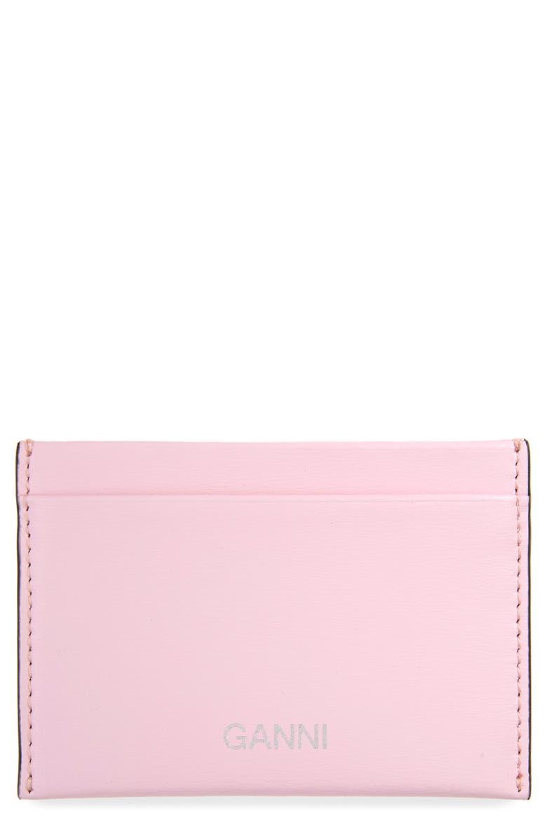 GANNI Leather Card Case, Main, color, 650