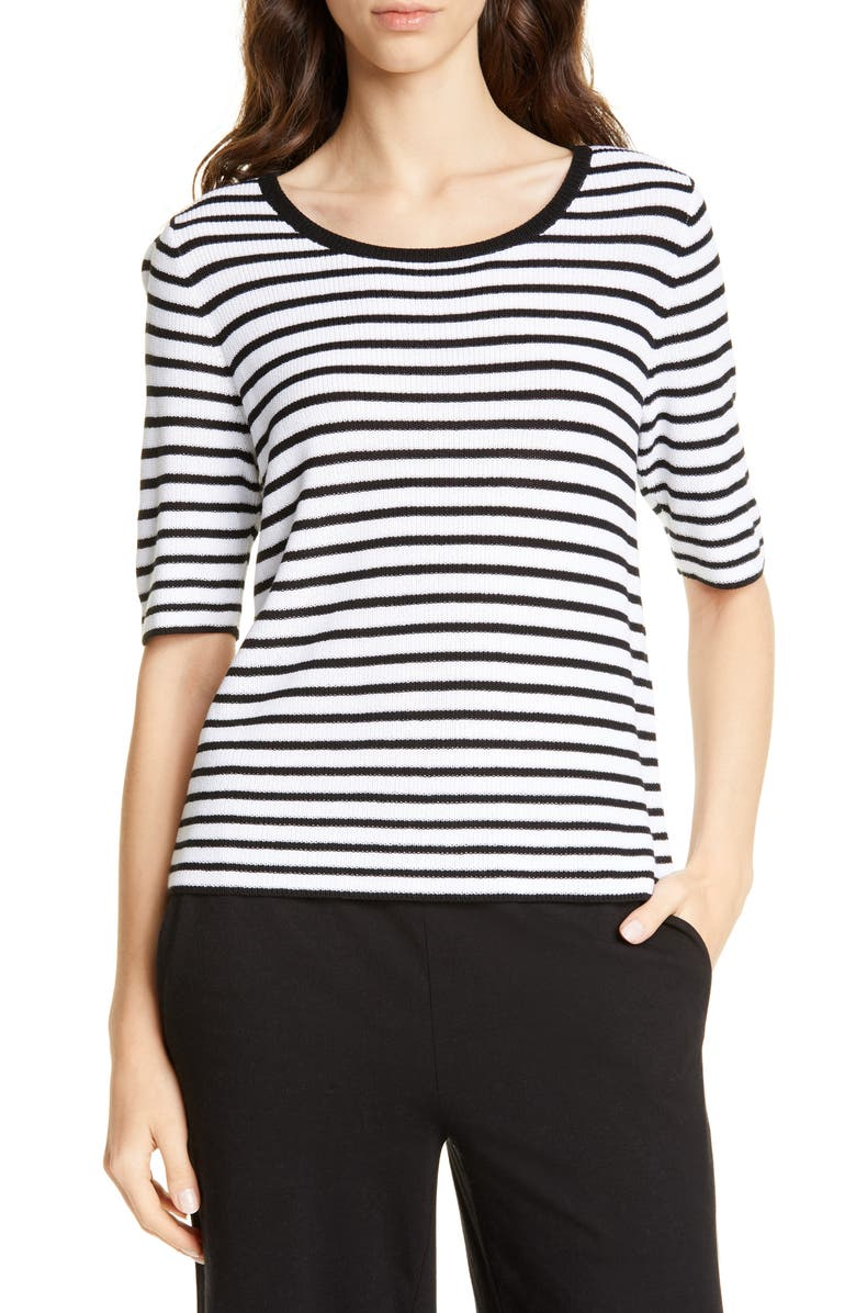EILEEN FISHER Stripe Elbow Sleeve Sweater, Main, color, BLACK/ WHITE