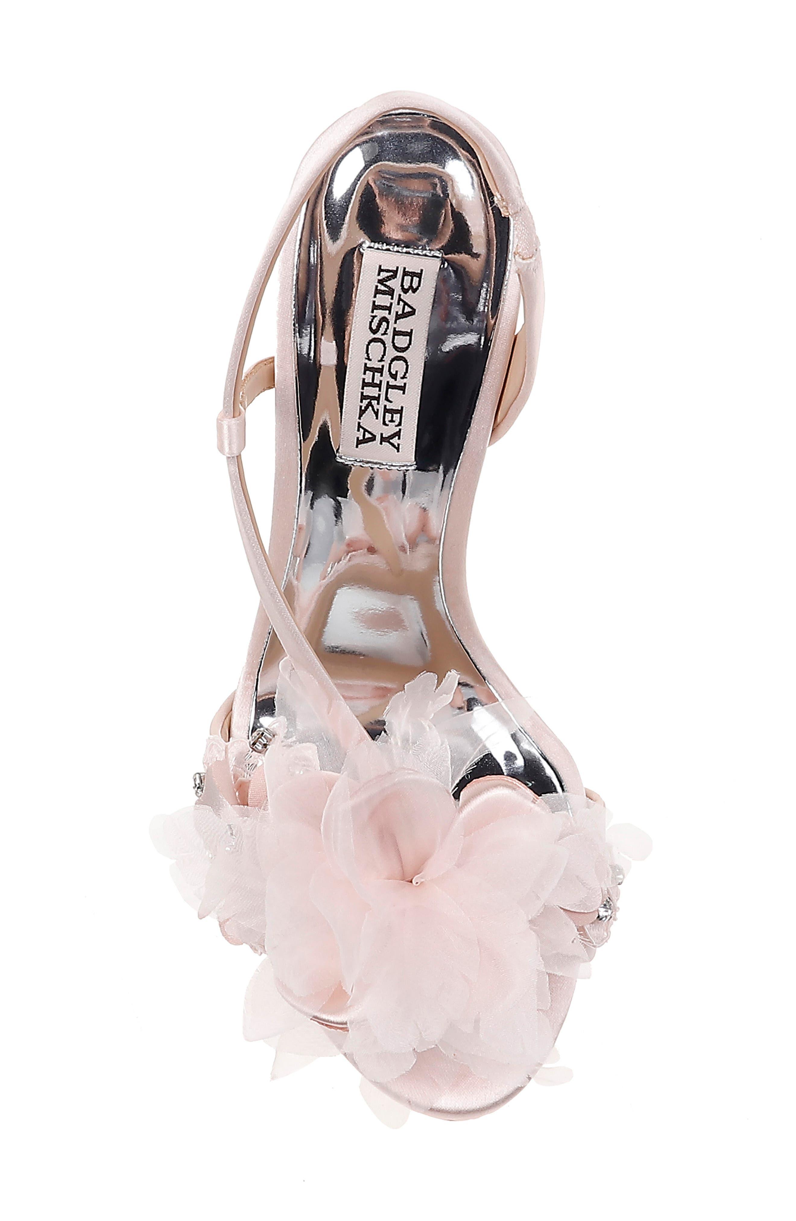 ,                             Badgley Mischka Forever Flower Sandal,                             Alternate thumbnail 5, color,                             LIGHT PINK SATIN