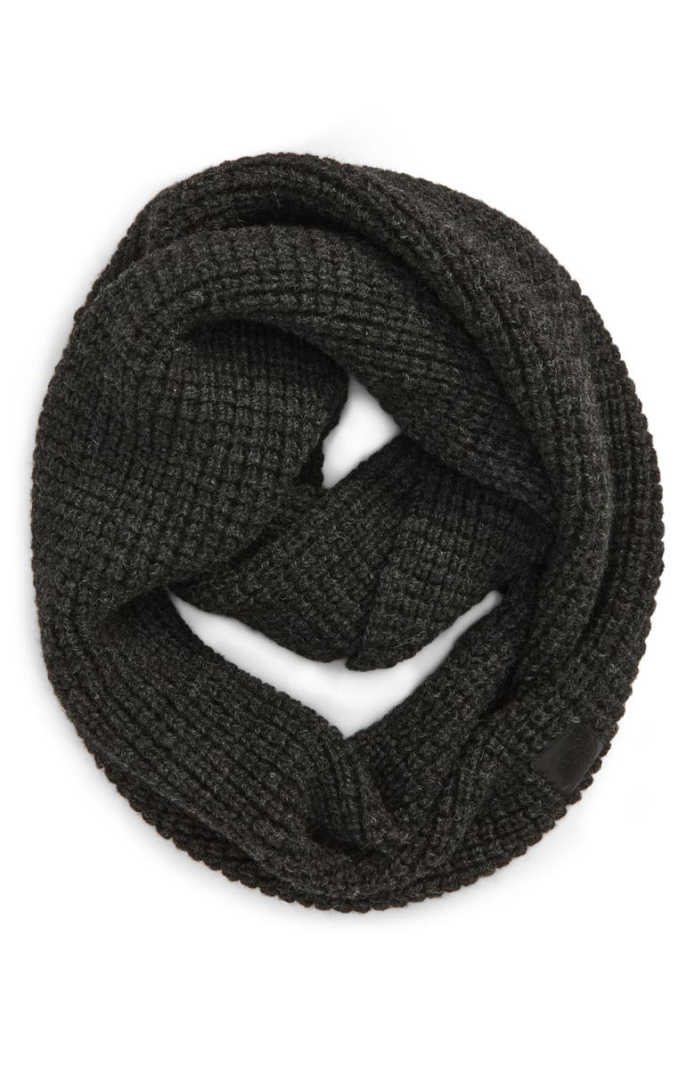 CANADA GOOSE Waffle Stitch Wool Infinity Scarf, Main, color, IRON GREY