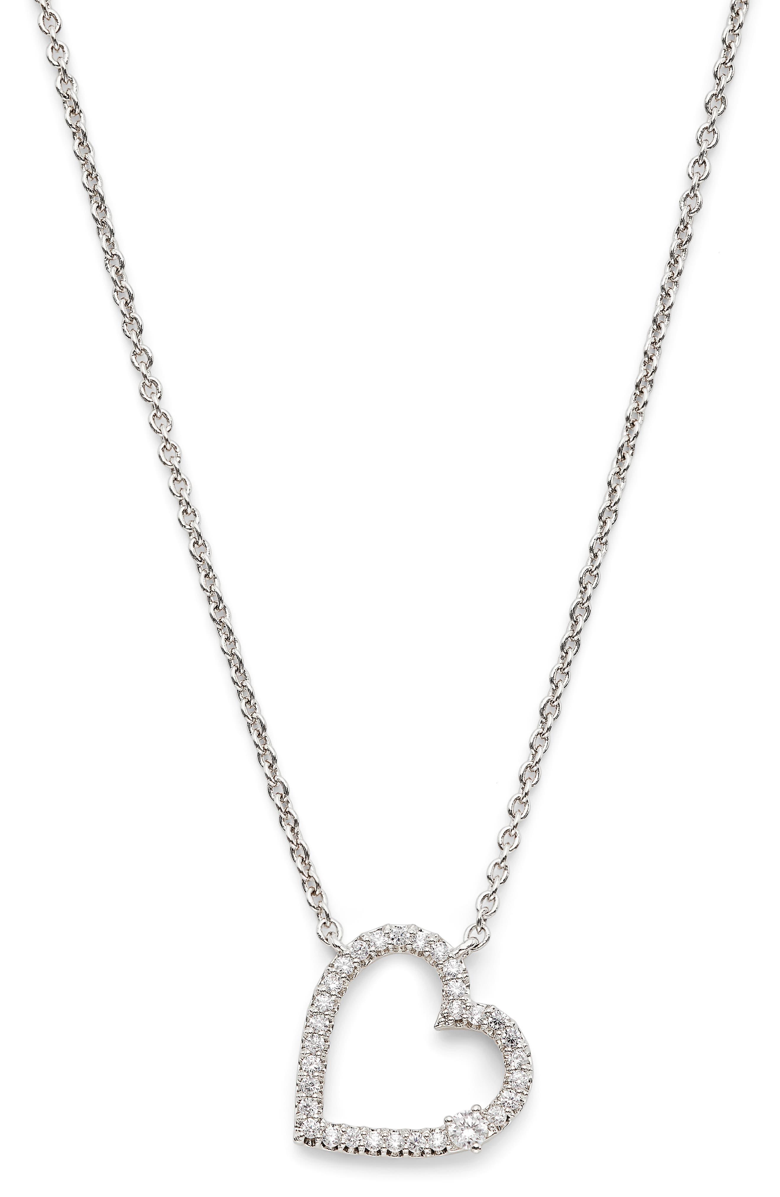 Pave Open Heart Pendant Necklace