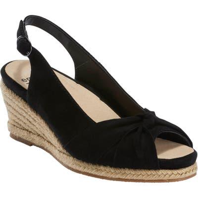 Earth Thara Bermuda Peep Toe Wedge Sandal, Black