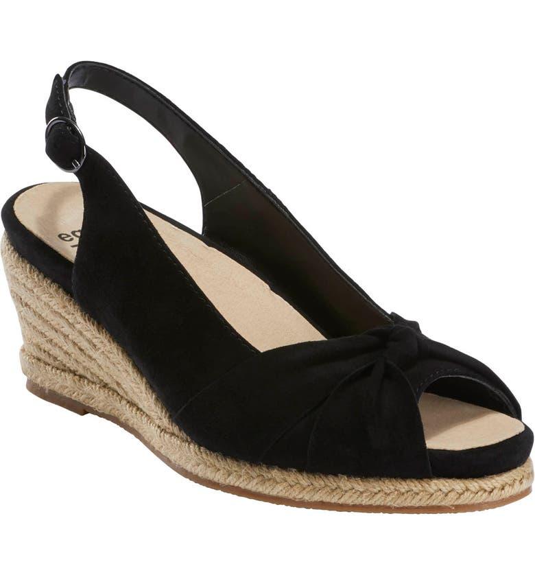EARTH<SUP>®</SUP> Thara Bermuda Peep Toe Wedge Sandal, Main, color, BLACK SUEDE