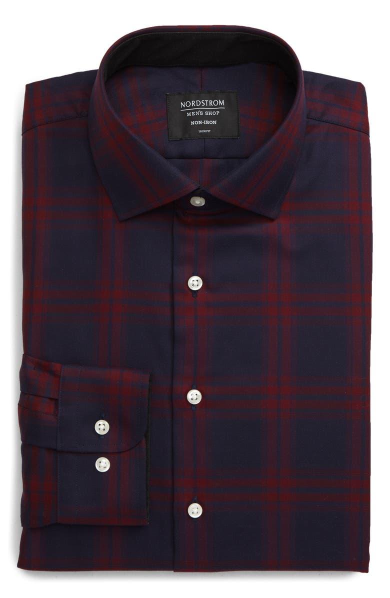 NORDSTROM Men's Shop Trim Fit Non-Iron Plaid Dress Shirt, Main, color, RED SUN