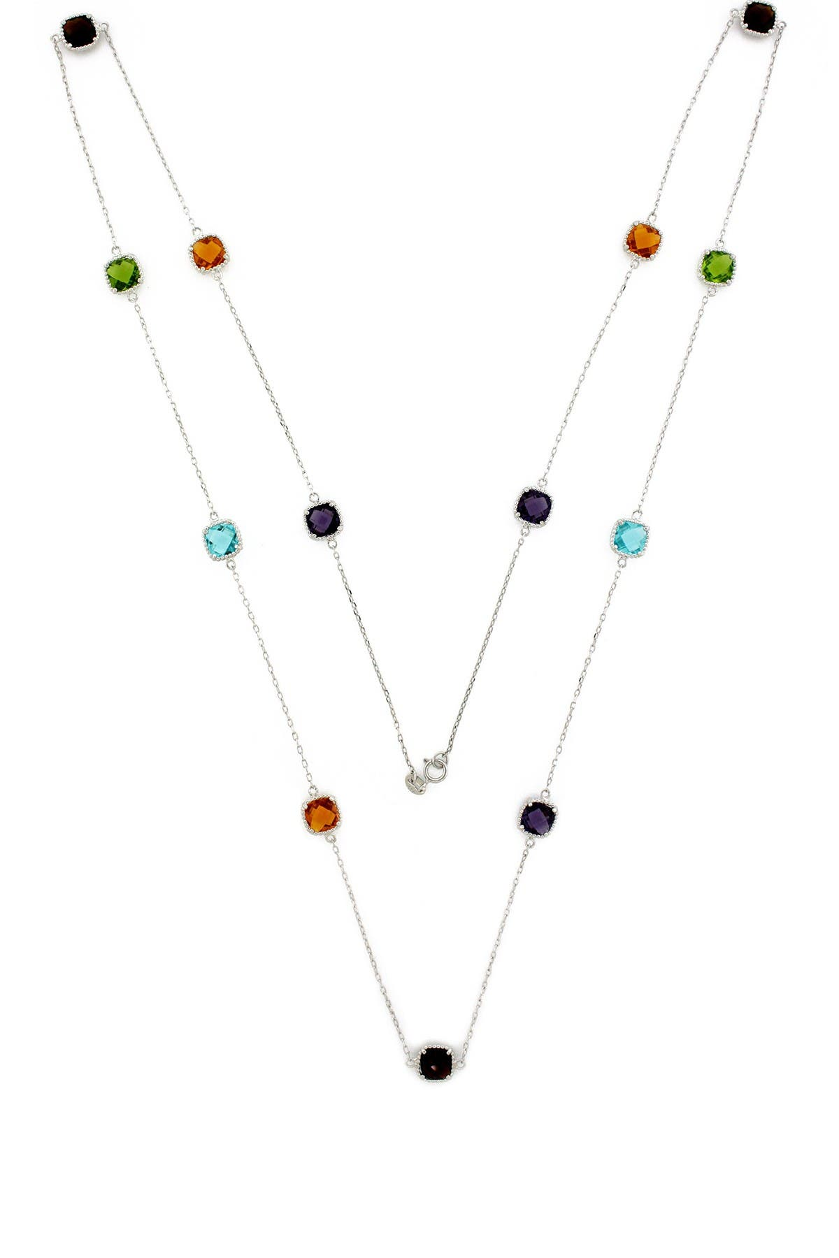 Image of Suzy Levian Multi-Color CZ & Sterling Silver Double Cushion By-the-Yard Necklace