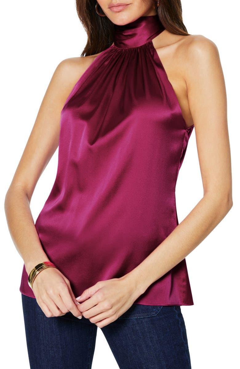 RAMY BROOK Lori Stretch Silk Halter Top, Main, color, MAHOGANY