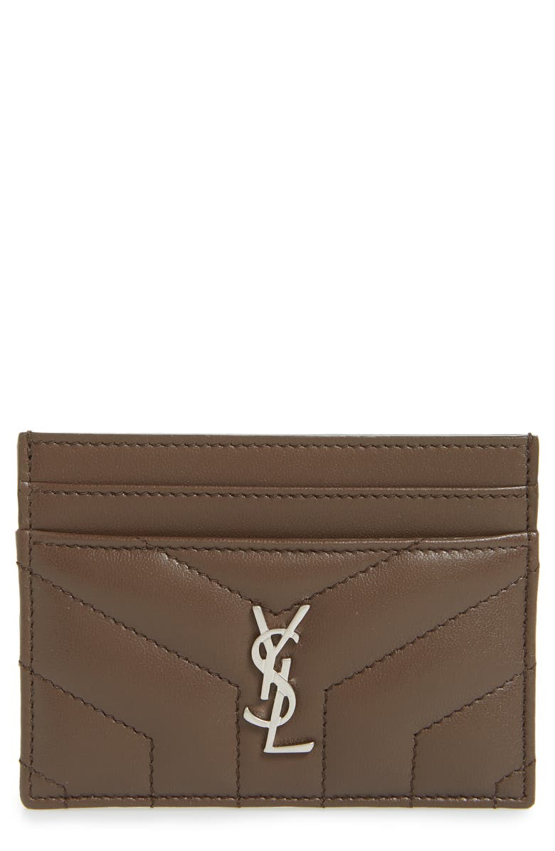 SAINT LAURENT Loulou Monogram Quilted Leather Credit Card Case, Main, color, FAGGIO