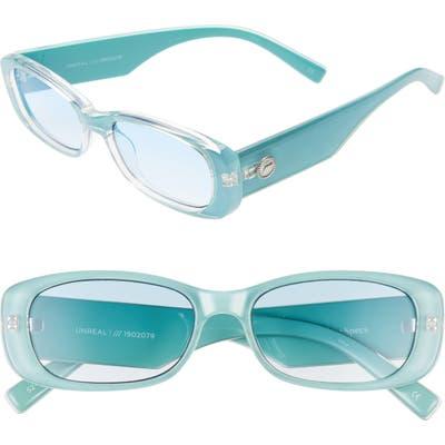 Le Specs Unreal 50Mm Rectangle Sunglasses - Teal/ Teal Gradient