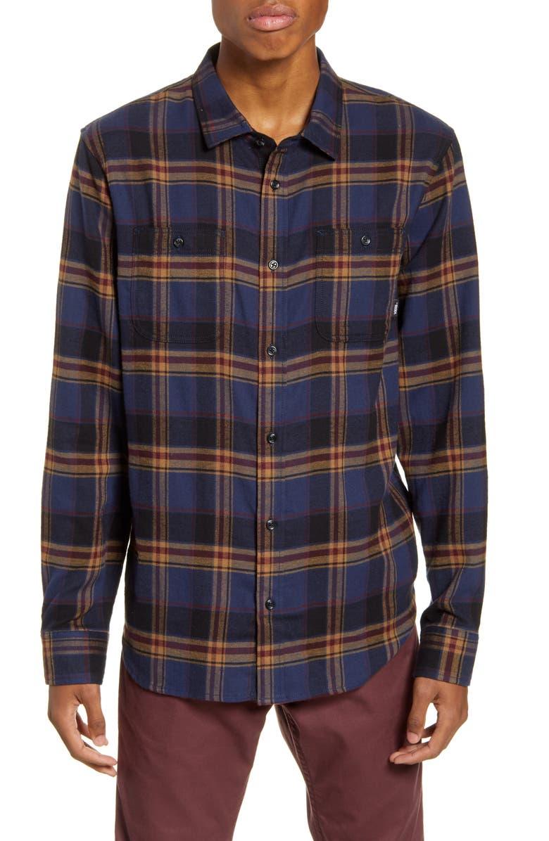 VANS Banfield III Plaid Button-Up Flannel Shirt, Main, color, DRESS BLUES/DIRT