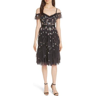 Needle & Thread Lustre Cold Shoulder Dress, Black