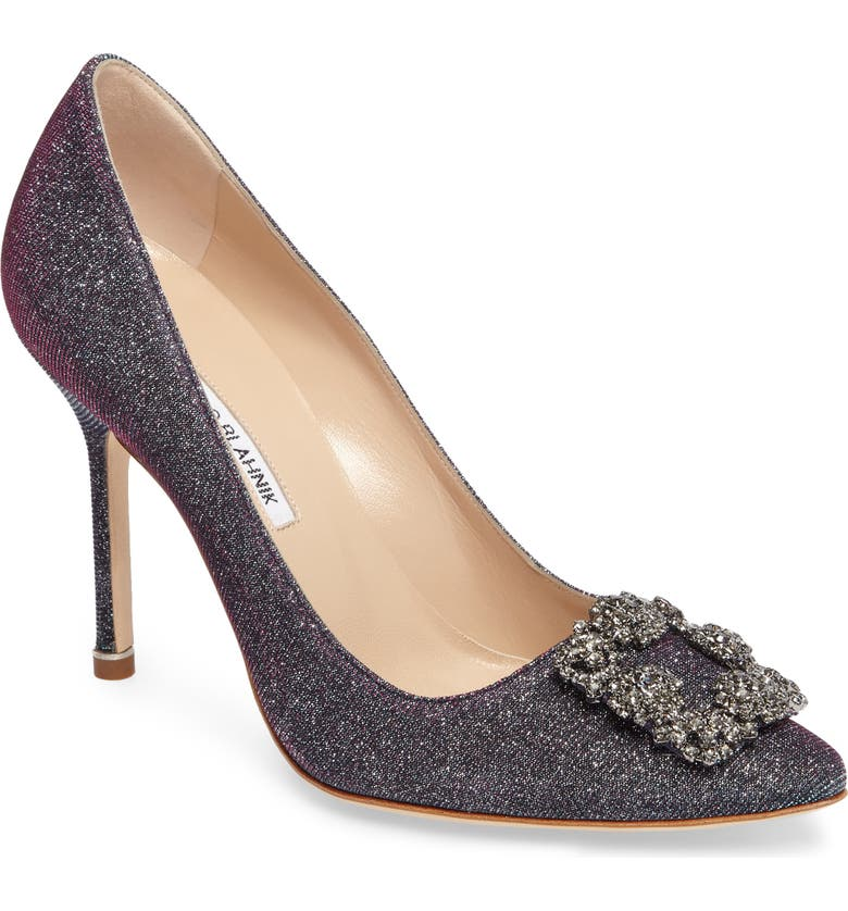 MANOLO BLAHNIK Hangisi Jeweled Pointed Toe Pump, Main, color, MIDNIGHT