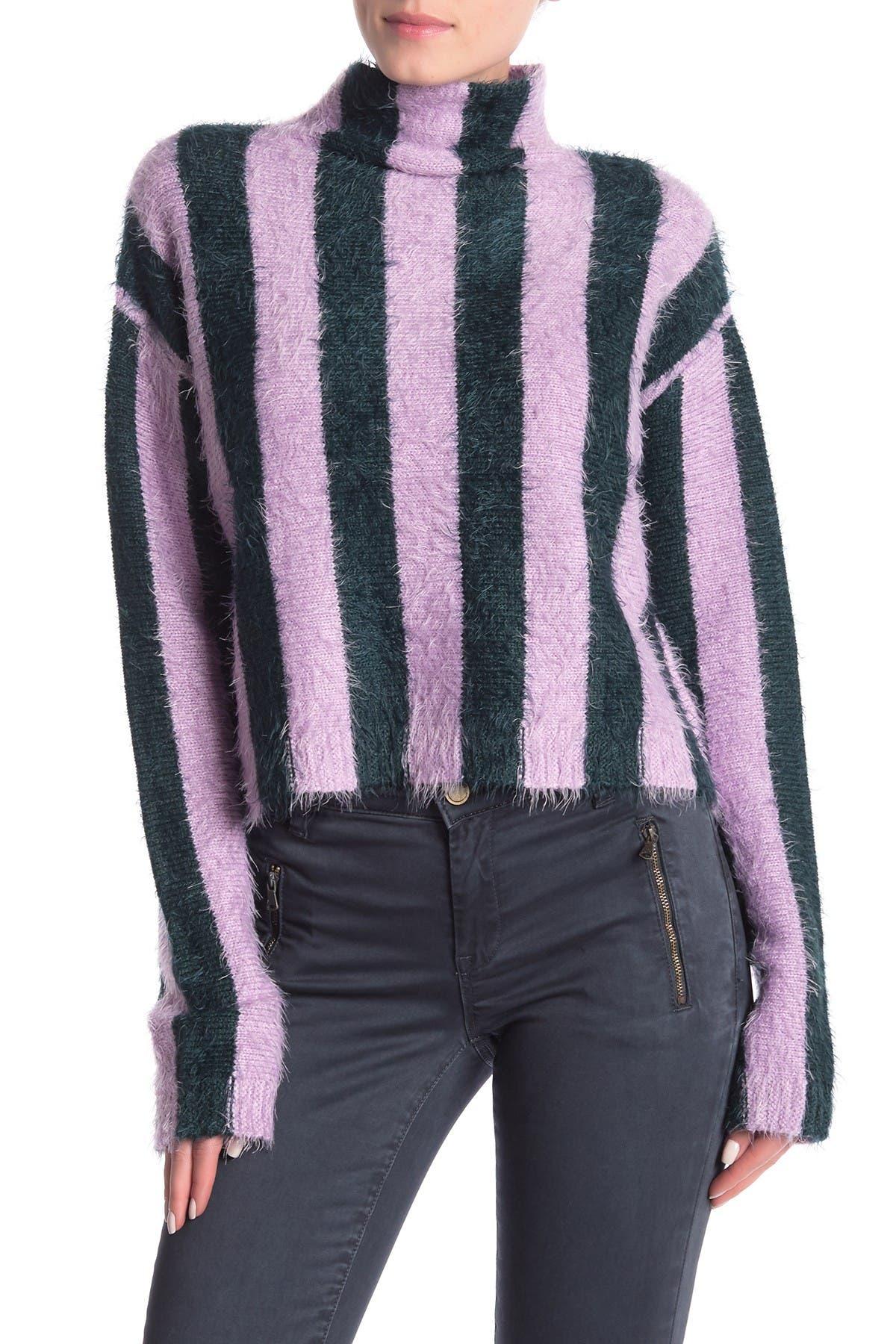 Image of BLANKNYC Denim Striped Mock Neck Sweater