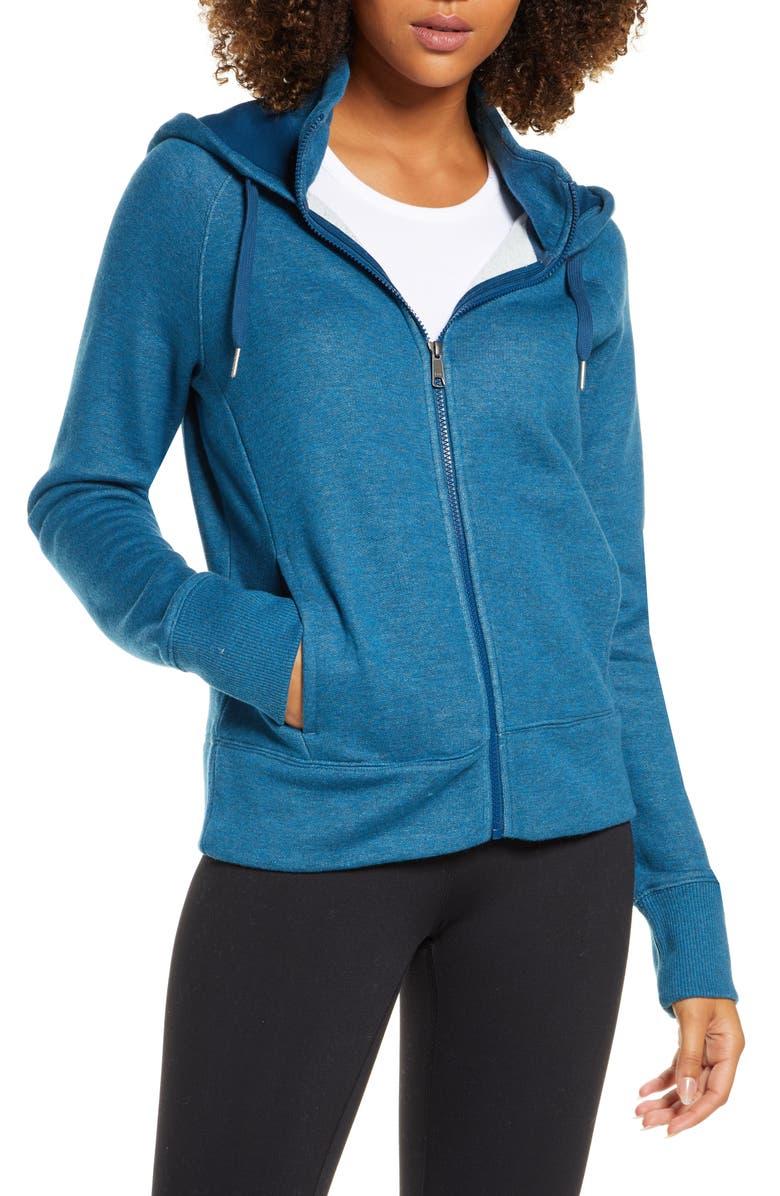 ZELLA Nola Full Zip Hooded Sweatshirt, Main, color, BLUE AURORA HEATHER