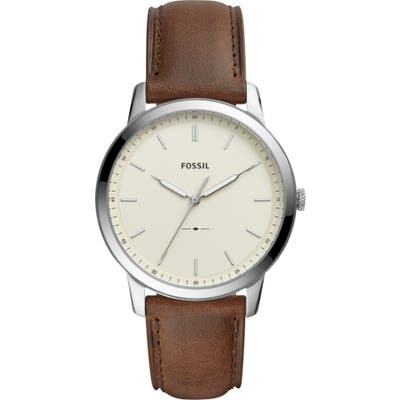 Fossil Minimalist Leather Strap Watch, 4m