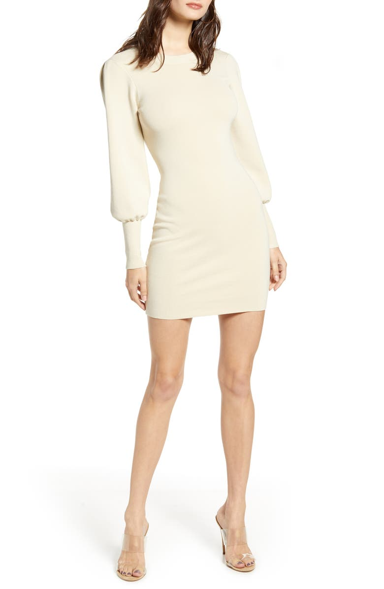 LEITH Long Sleeve Sweater Dress, Main, color, BEIGE ANGORA