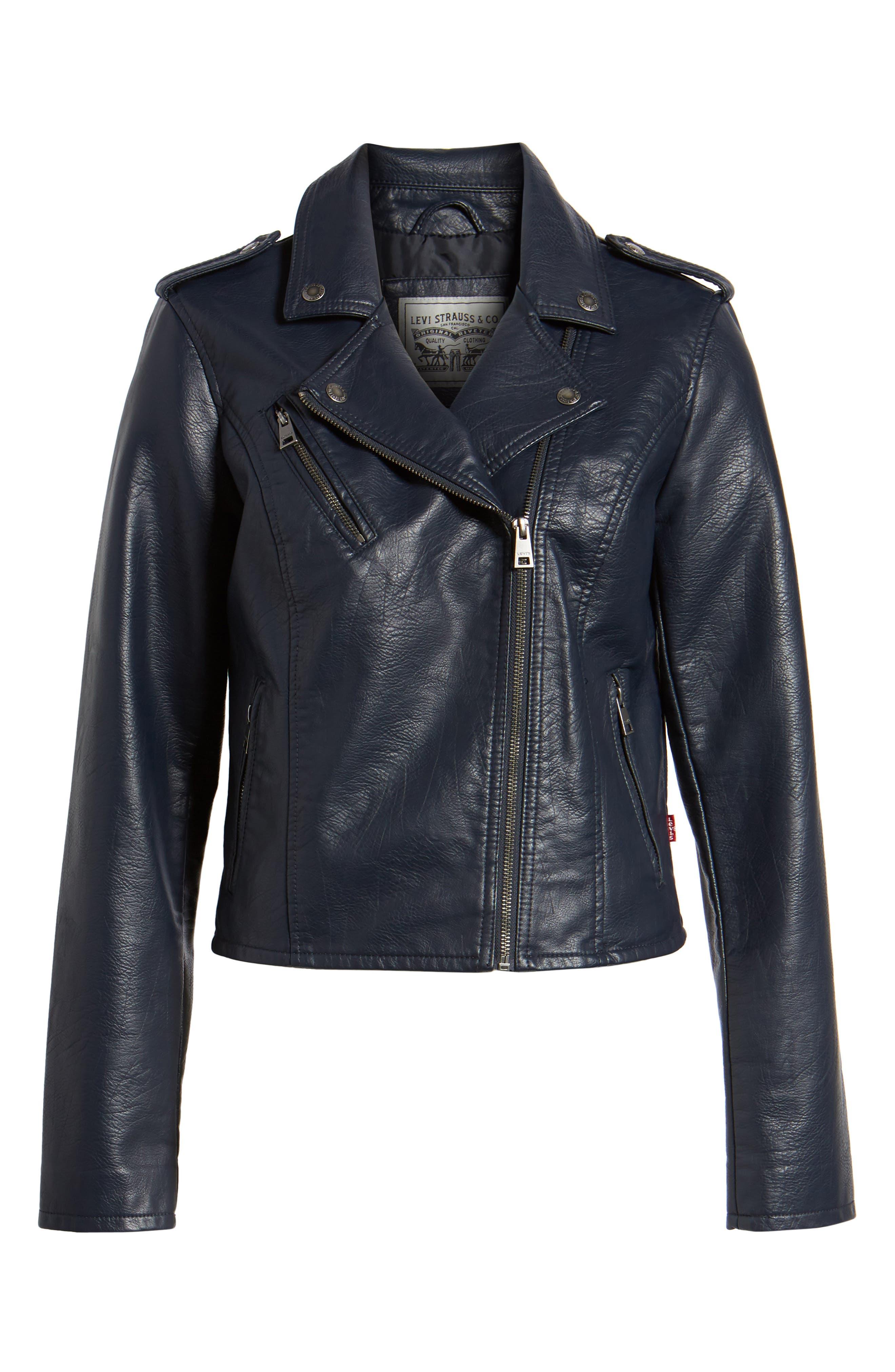 ,                             Faux Leather Moto Jacket,                             Alternate thumbnail 13, color,                             410