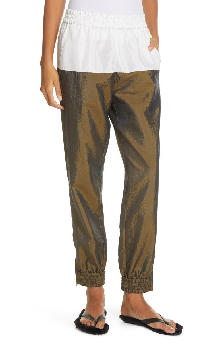 TIBI Colorblock Crinkled Nylon Jogger Pants, Main, color, DARK BRONZE MULTI