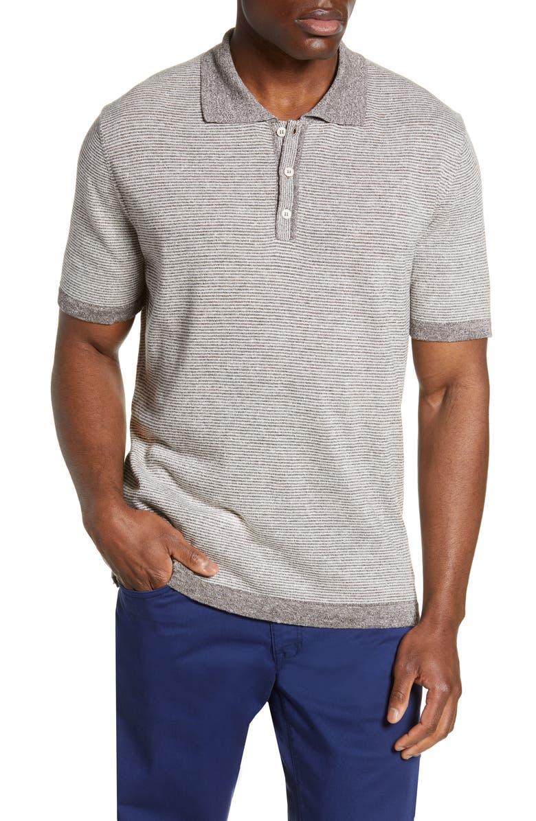 BUGATCHI Stripe Cotton & Linen Polo Sweater, Main, color, 020