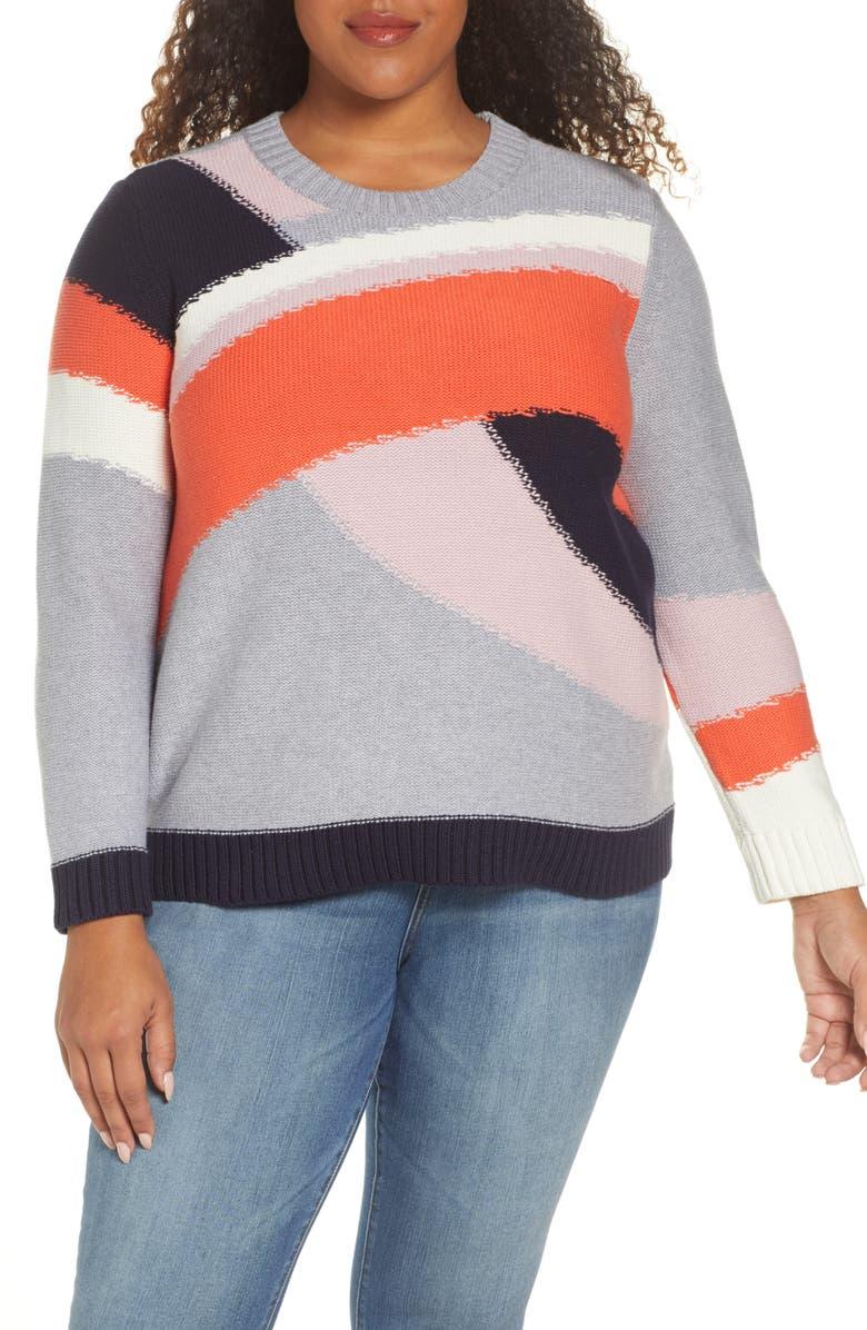 1.STATE Colorblock Cotton Sweater, Main, color, PAPAYA