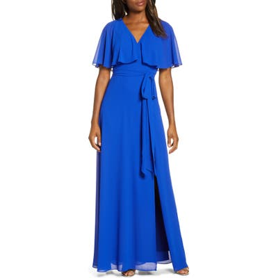Petite Vince Camuto Flutter Overlay Chiffon Gown, Blue