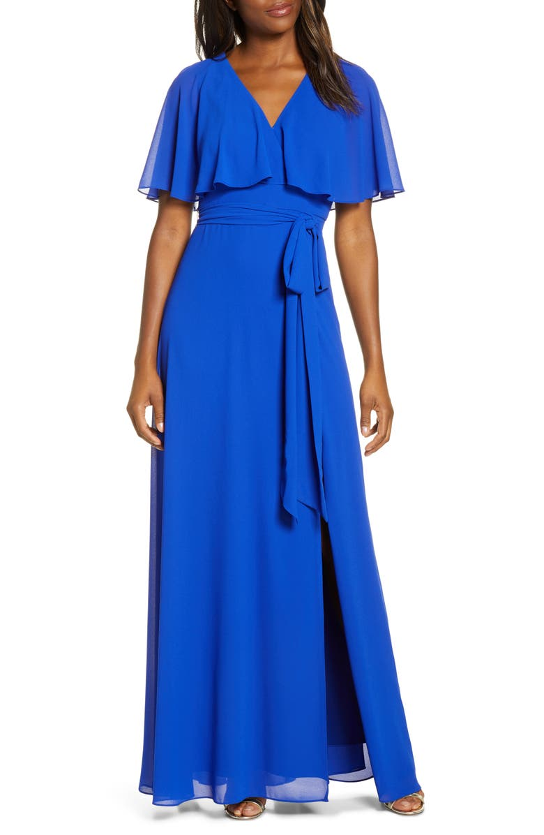 VINCE CAMUTO Flutter Overlay Chiffon Gown, Main, color, COBALT