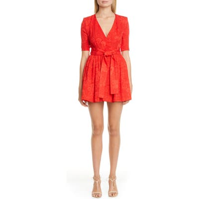 Stella Mccartney Tie Waist Floral Jacquard Skort Romper, 6 IT - Red