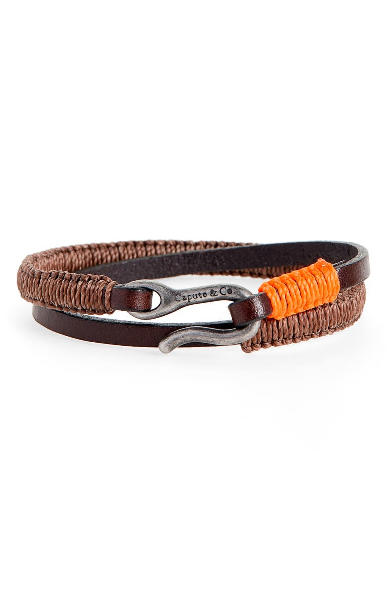 CAPUTO & CO. Leather Wrap Bracelet, Main, color, BROWN