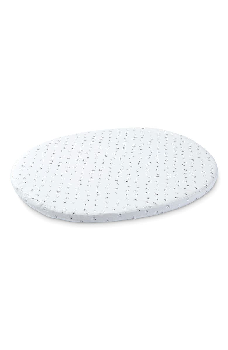 STOKKE x Pehr Sleepi Mini Organic Cotton Fitted Sheet, Main, color, GREY DOTTY