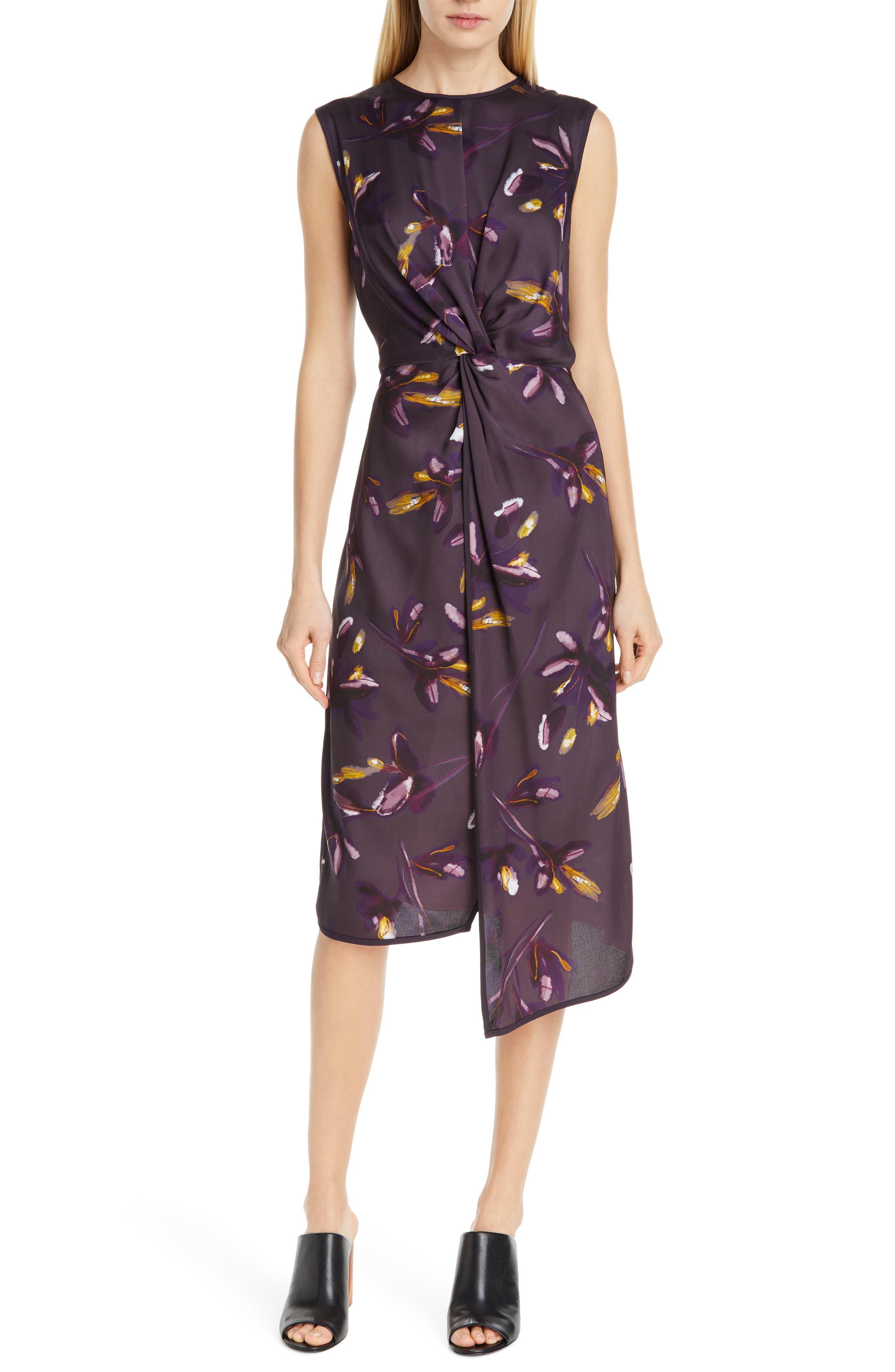 Judith & Charles Chroma Sleeveless Midi Dress, Purple