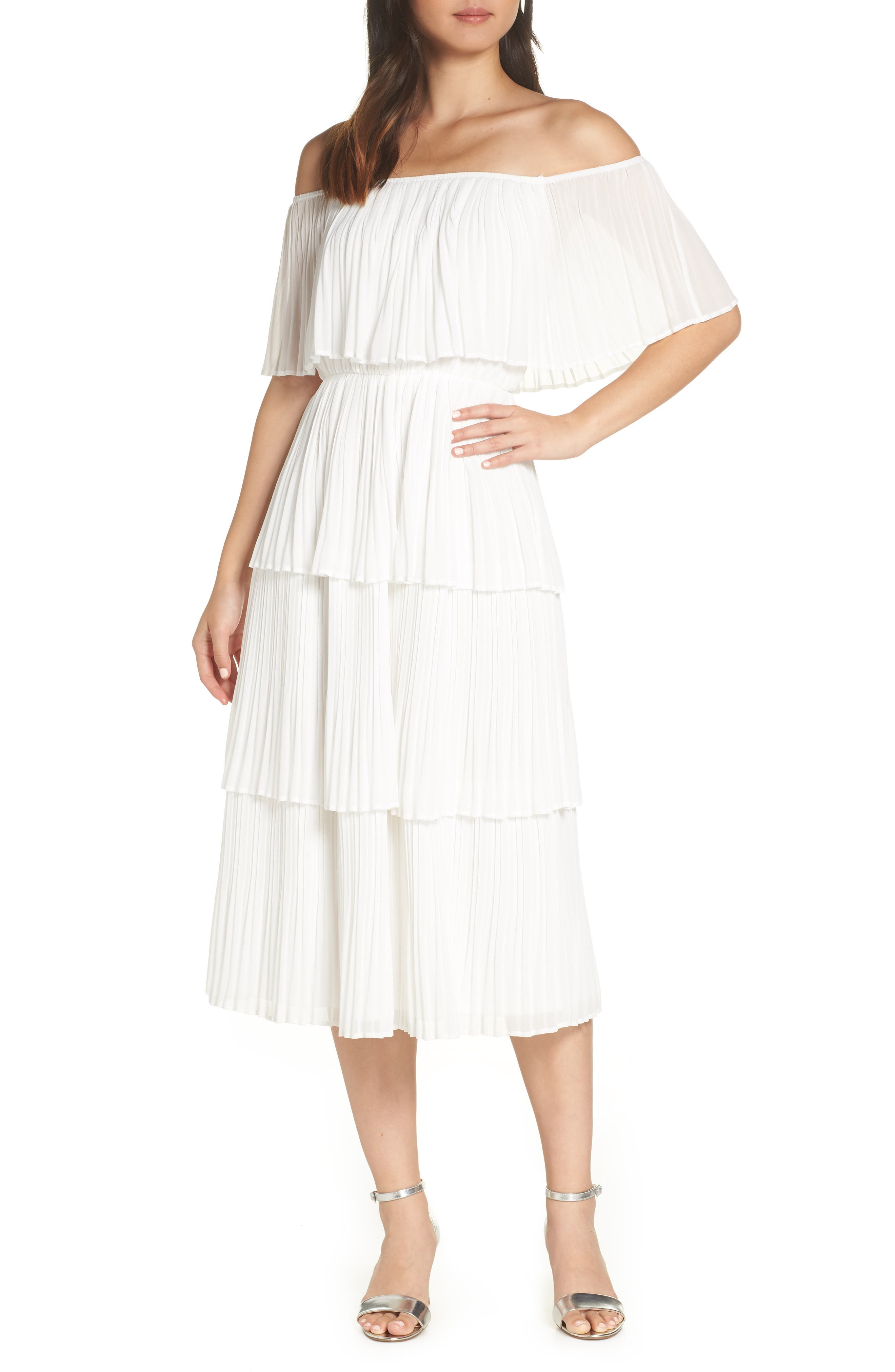 Lulus Gala Ready Off The Shoulder Dress, White