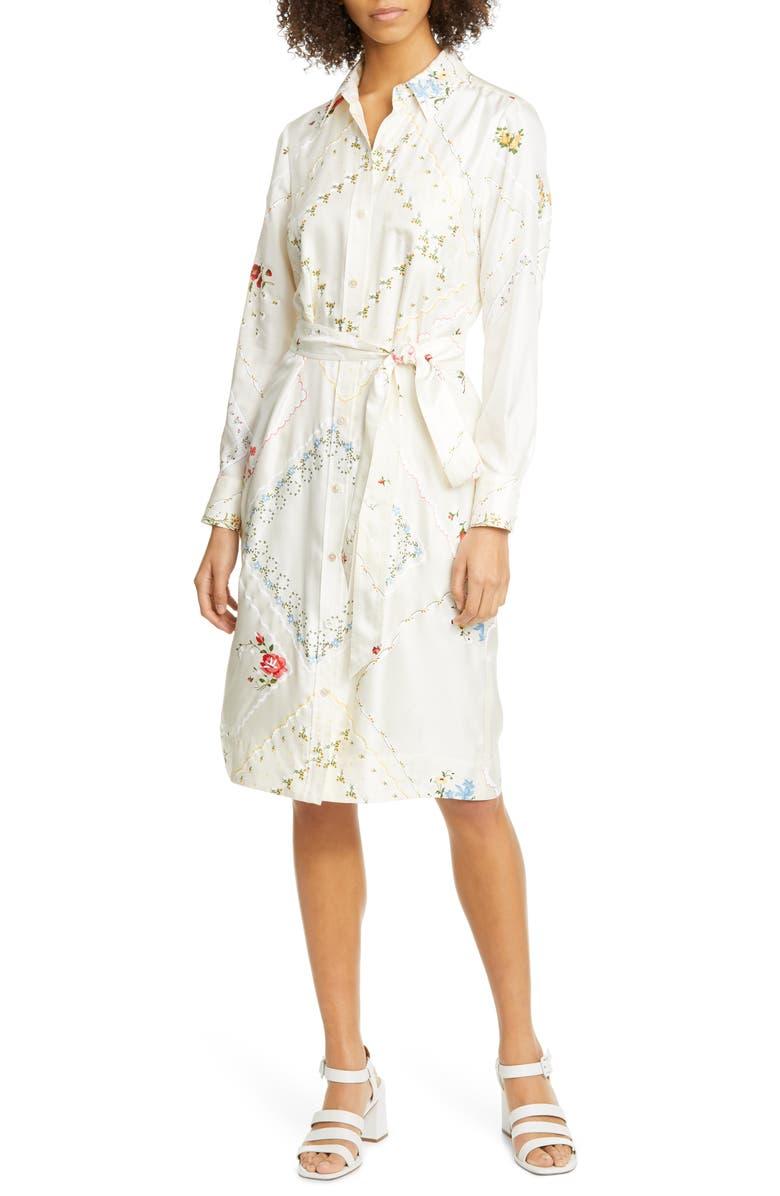 TORY BURCH Long Sleeve Floral Silk Shirtdress, Main, color, 650