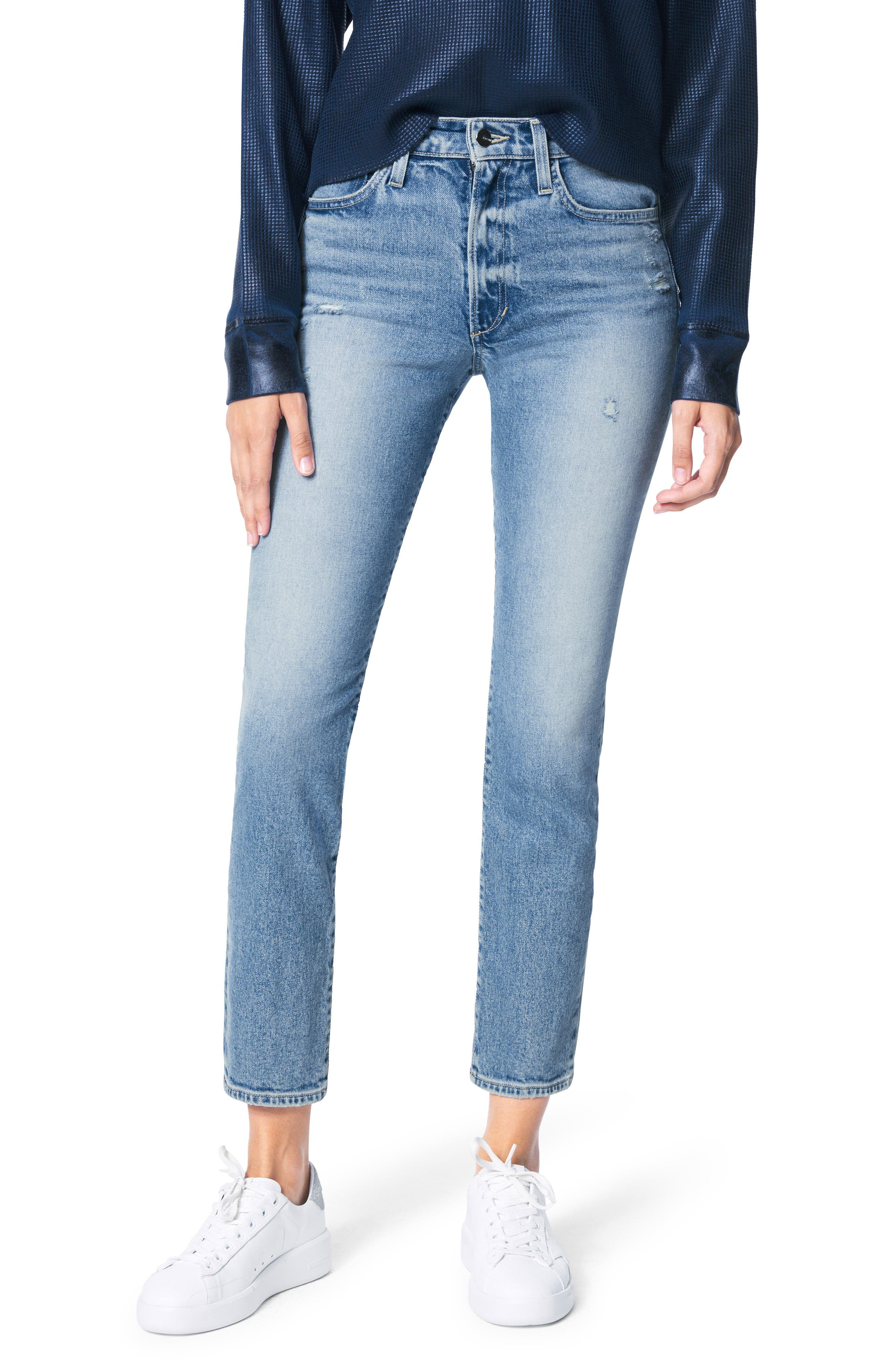 The Luna High Waist Distressed Ankle Cigarette Jeans