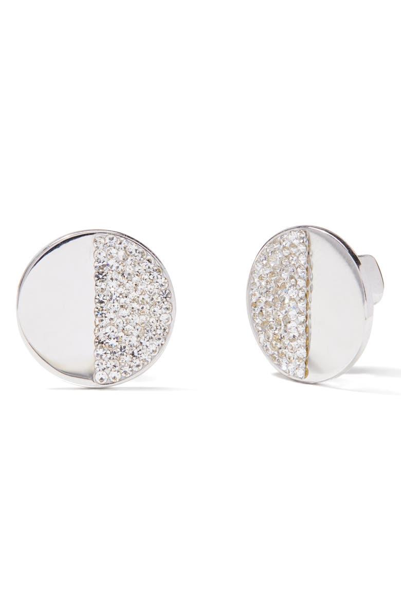 KATE SPADE NEW YORK mod scallop pavé stud earrings, Main, color, CLEAR