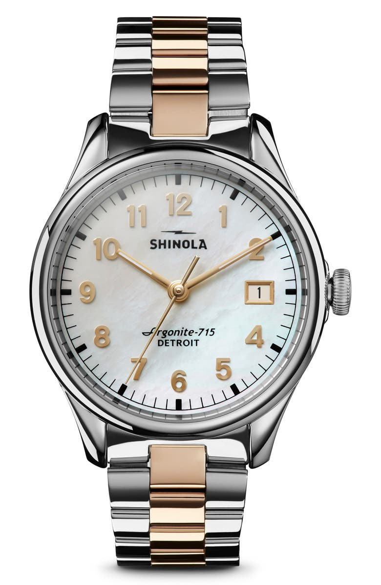 SHINOLA The Vinton Bracelet Watch, 38mm, Main, color, SILVER/ MOP/ GOLD