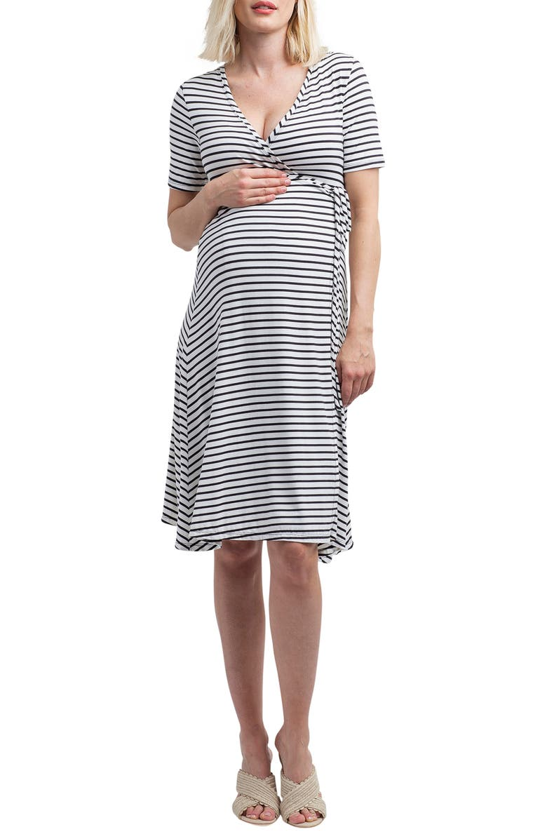 NOM MATERNITY Maya Maternity/Nursing Wrap Dress, Main, color, BLACK/ WHITE STRIPE