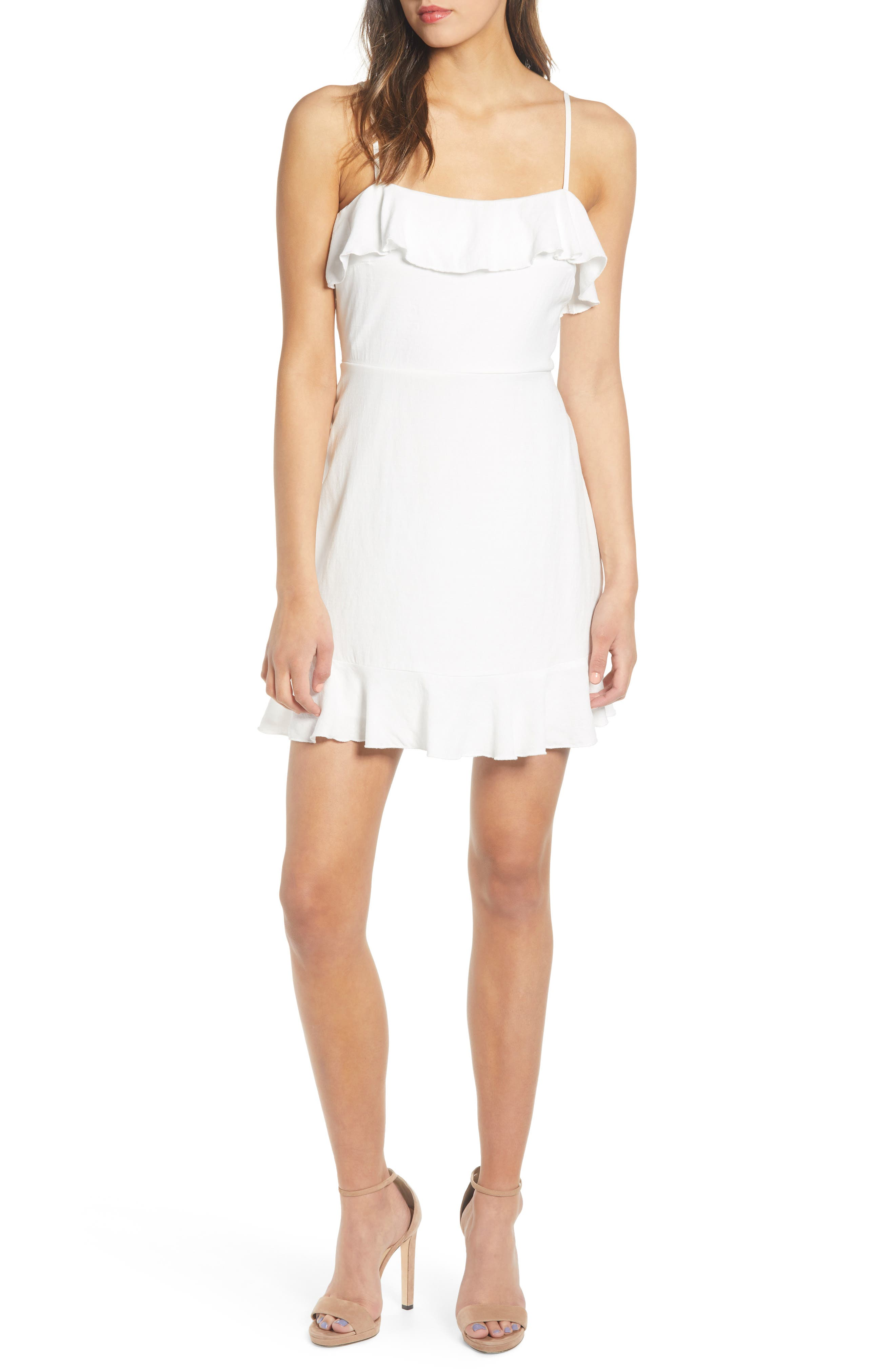 Row A Ruffle Minidress, White