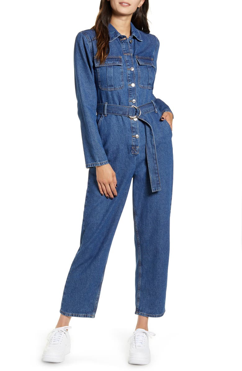 TOPSHOP Belted Denim Boilersuit, Main, color, MID DENIM