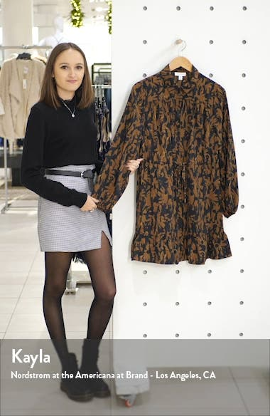 Floral Camouflage Long Sleeve Shirtdress, sales video thumbnail