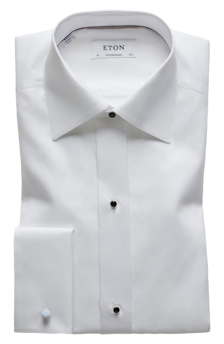 ETON Contemporary Fit Textured Formal Shirt, Main, color, WHITE