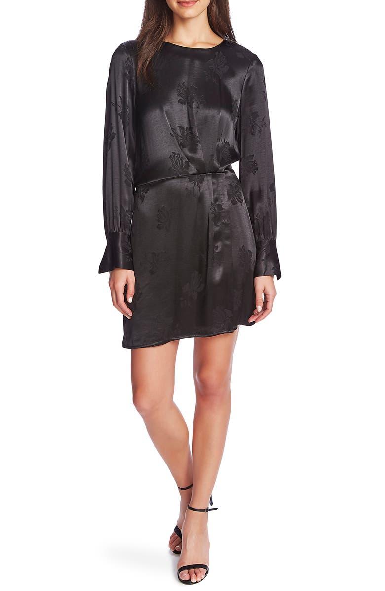 1.STATE Floral Jacquard Sheath Dress, Main, color, RICH BLACK