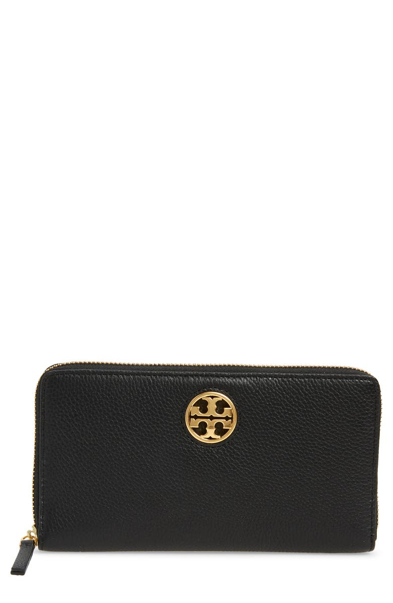 TORY BURCH Tory Carson Zip Leather Continental Wallet, Main, color, BLACK