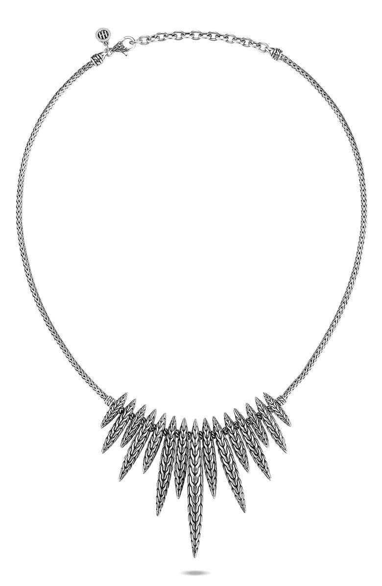 JOHN HARDY Classic Chain Spear Dangling Bib Necklace, Main, color, SILVER