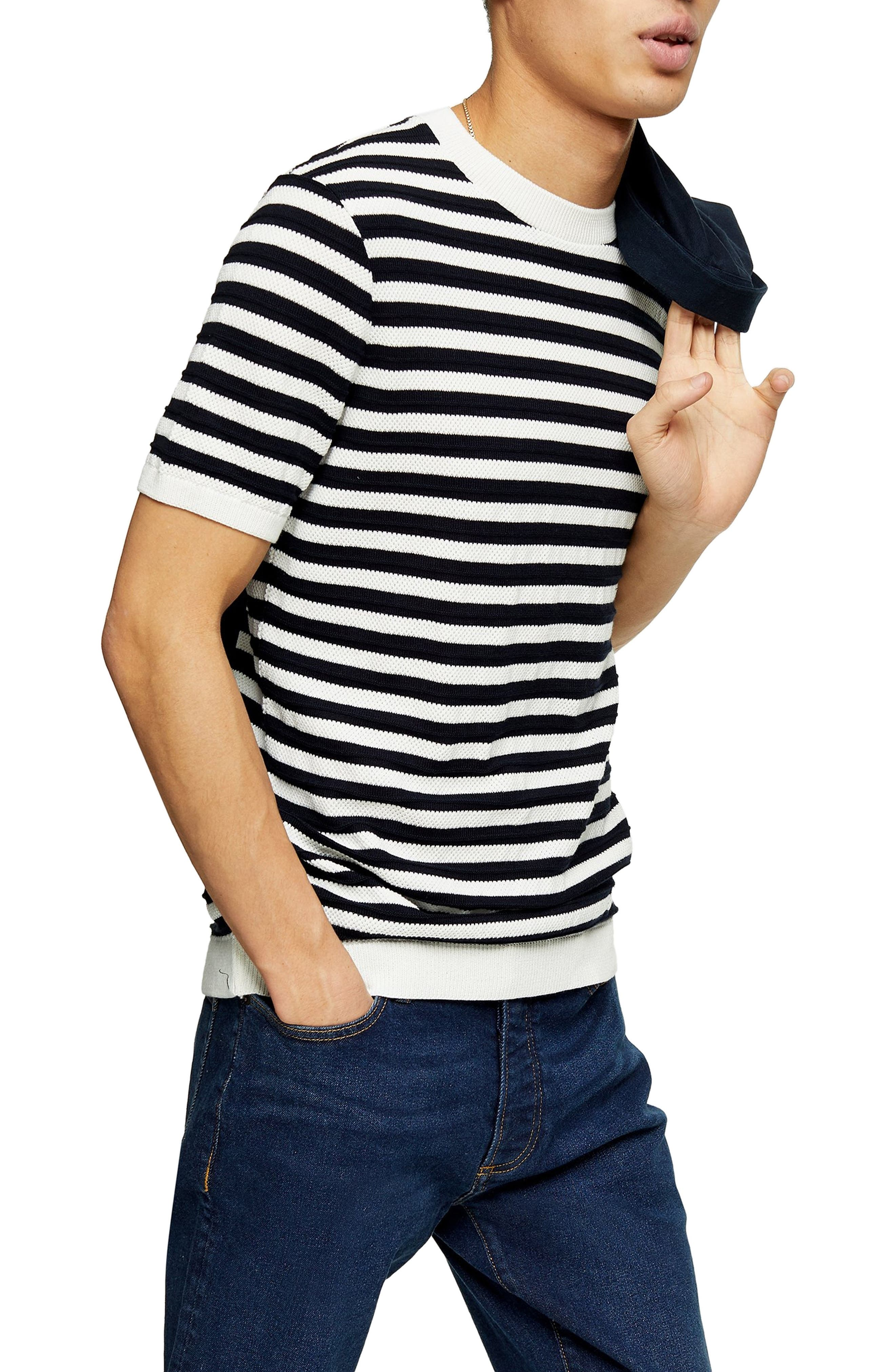 1940s Men's Shirts, Sweaters, Vests Mens Topman Stripe Knit T-Shirt $27.00 AT vintagedancer.com