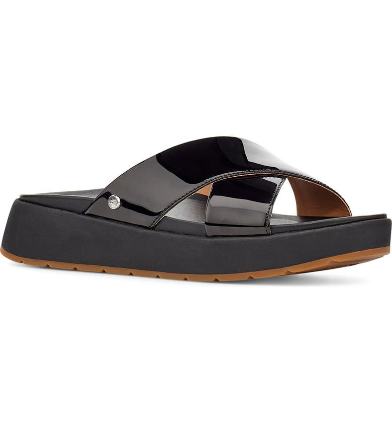 UGG<SUP>®</SUP> Emily Slide Sandal, Main, color, BLACK PATENT LEATHER