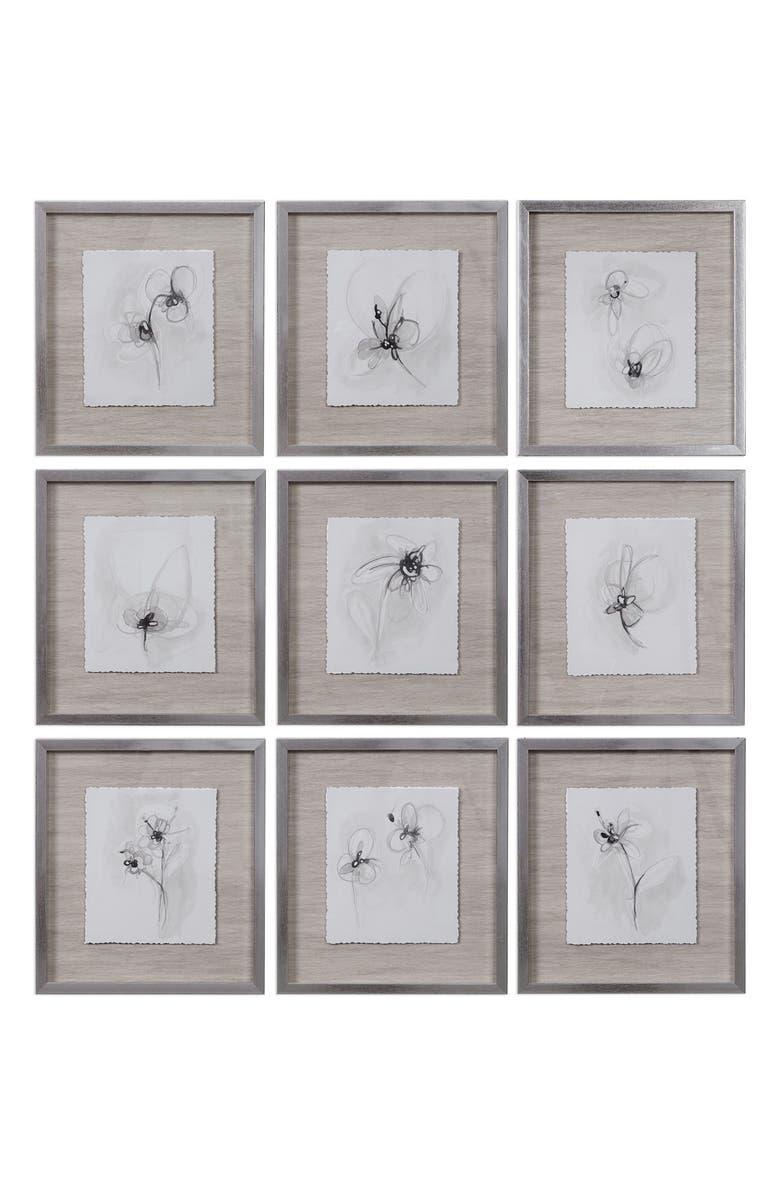 UTTERMOST Neutral Floral Gestures Set of 9 Framed Art Prints, Main, color, BLACK/ GROWN/ GREY