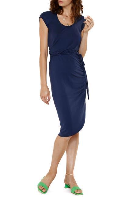 Image of Heartloom Rafe Cap Sleeve Side Ruched Asymmetrical Hem Midi Dress